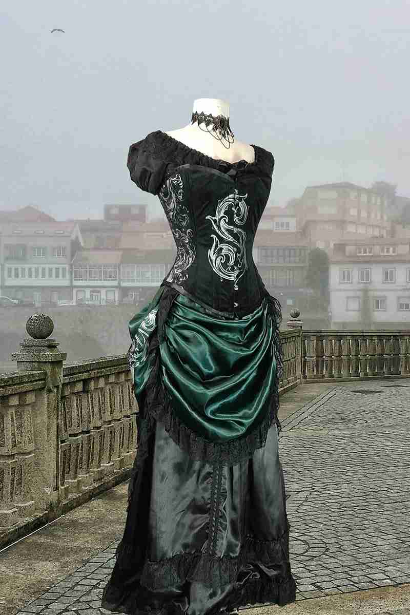 the front view of the new Potion Mistress victorian bustle skirt in dark green with a black satin under skirt petticoat