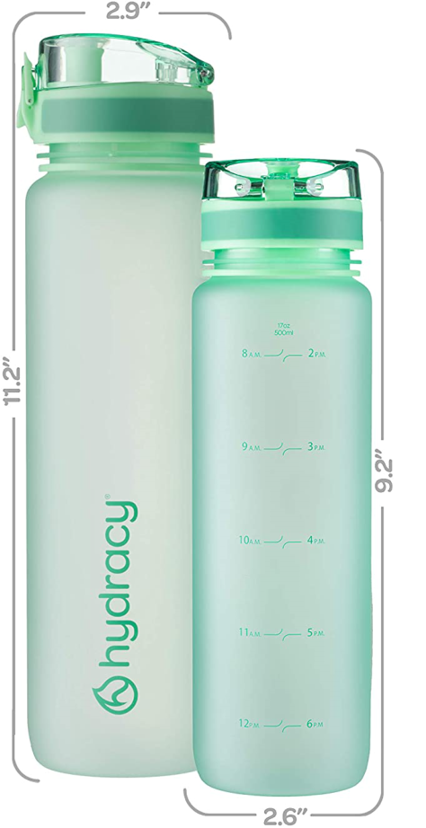 Sports Water Bottle with Time Marker 32oz Aqua Green