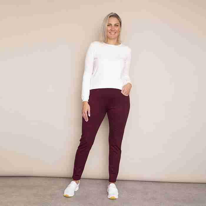 Ann's Stretch Waist Trousers - Plus Size(Wine)