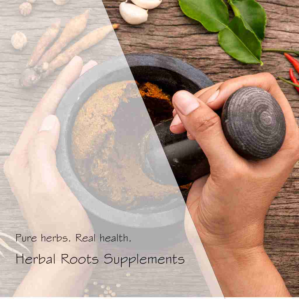 hands with mortar and pestle with word overlay of Herbal Roots Supplements, free shipping on all US order and a Shop Now button