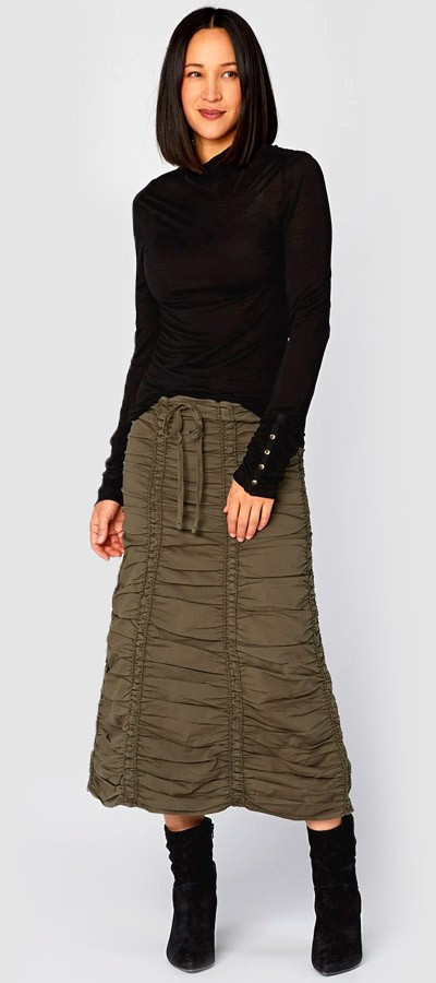 Double Panel Skirt + Button Cuff Turtleneck