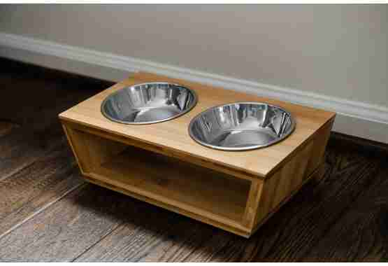 small raised dog bowls made of bamboo fit perfectly with any decor