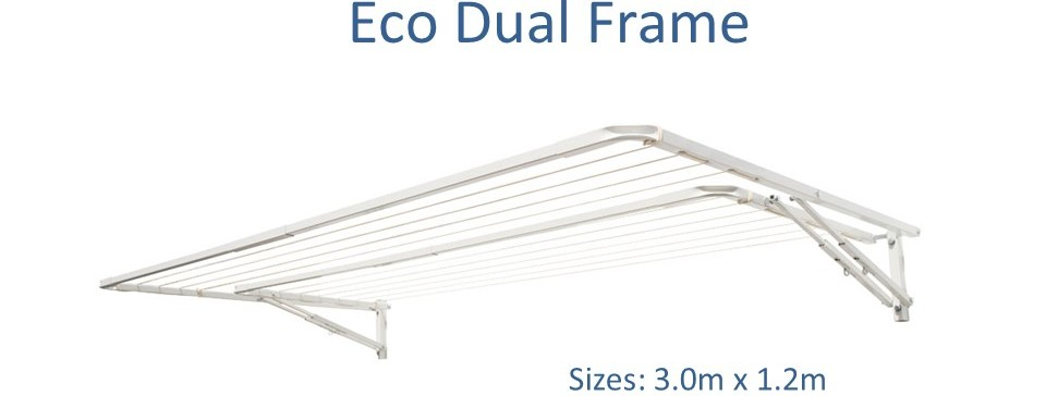 eco dual frame 2.9m wide clothesline with split frame