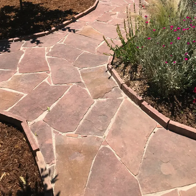 Taupe on red flagstone