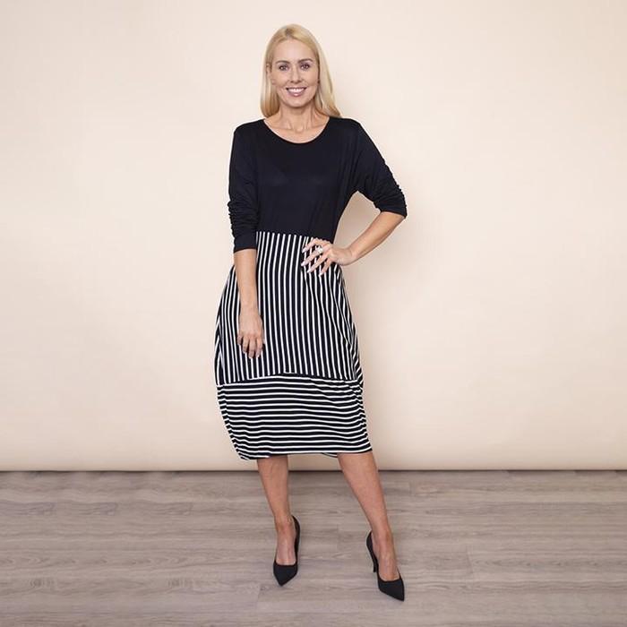 Long Sleeve Stripe Dress (Black)