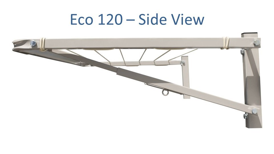 eco 120 clothesline at 120cm wide showing side view of steel construction