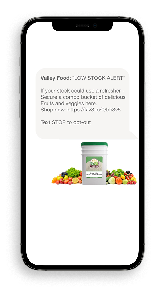 Valley Food Storage Example Text Message