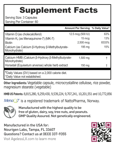 AgelessLX Supplement Facts