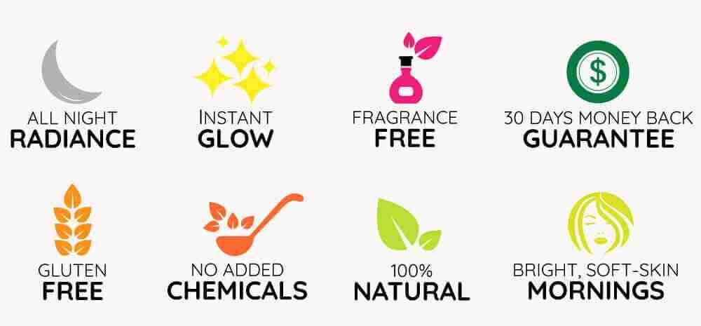 iYURA trust badges: 1. Instant Glow 2. 100% Natural 3. Gluten Free 4. No Added Chemicals 5. All-Night Radiance 6. Fragrance Free 7. Bright, Soft Skin Mornings
