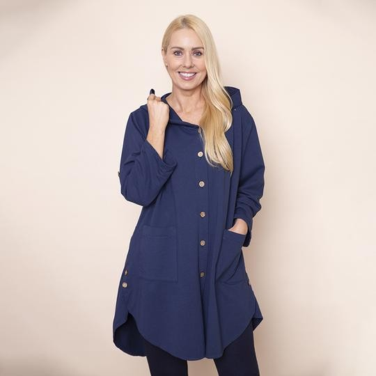 Button Sleeve Hoody Jersey Jacket(Navy)