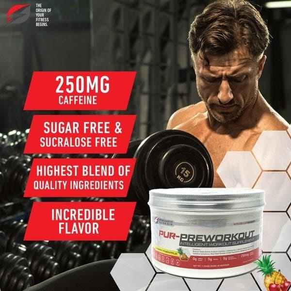 Man Lifting Weight Pur-preworkout pre-workout drink