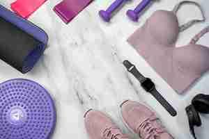 fitness workout gear tennis shoes sports bra apple watch resistance bands dumbells yoga mat