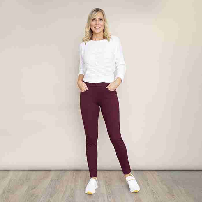 Stretch Waist Stud Pocket Trouser (Wine)