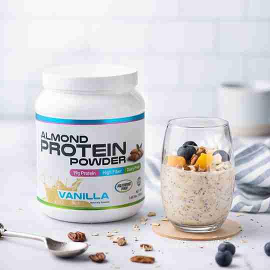 Almond Protein Powder overnight oats
