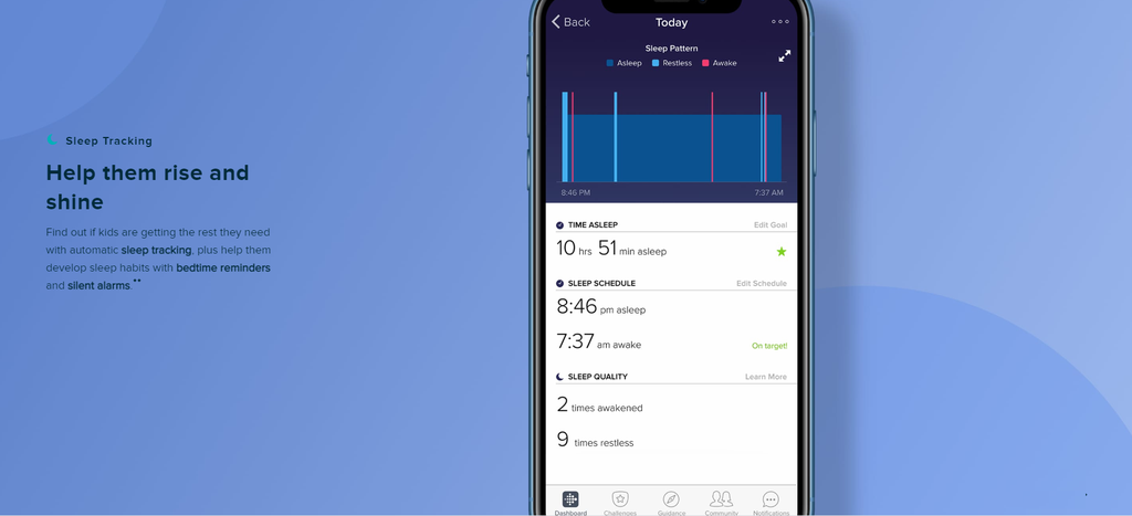 Fitbit Ace 2Sleep tracking