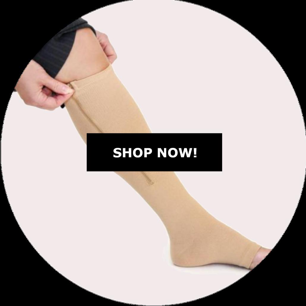 Zippered compression sock