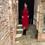 Velour Pocket Dress in Red