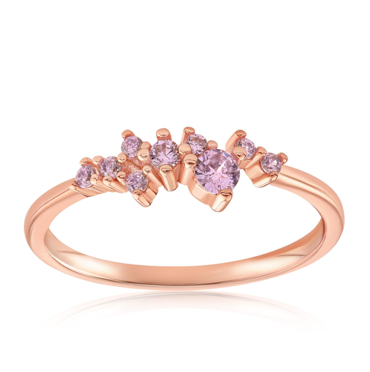 Rose Quartz Cluster Ring in rose gold