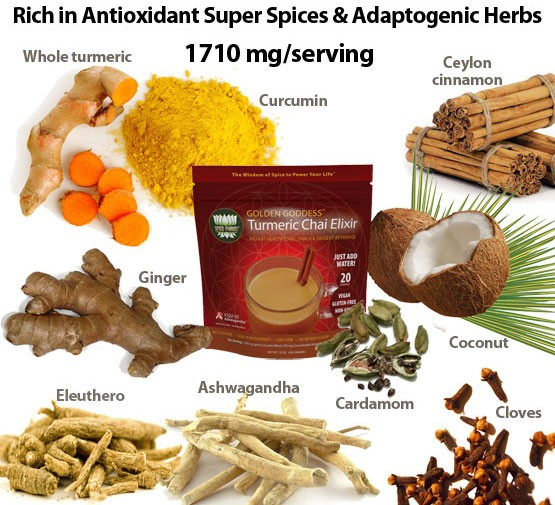 Golden Goddess Chai Elixir with Antioxidant Super Spices & Adaptogenic Herbs