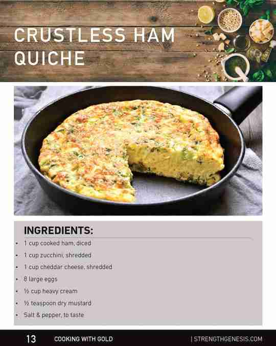 Crustless Ham Quiche Recipe Ingredients Cooking with Gold Strength Genesis