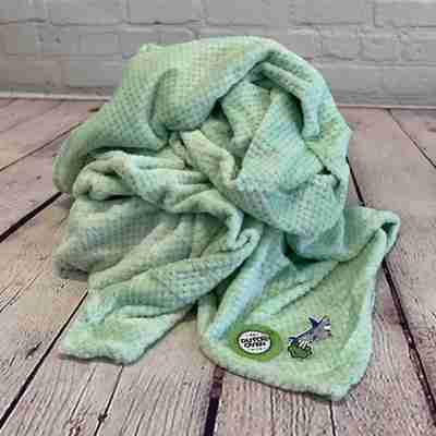 picture of a light green throw blanket on a wood background