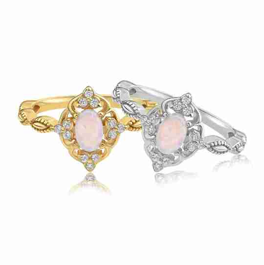 Two Blush and Bar opal rings
