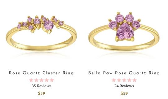 Blush & Bar Rose Quartz and Bella Paw Rings