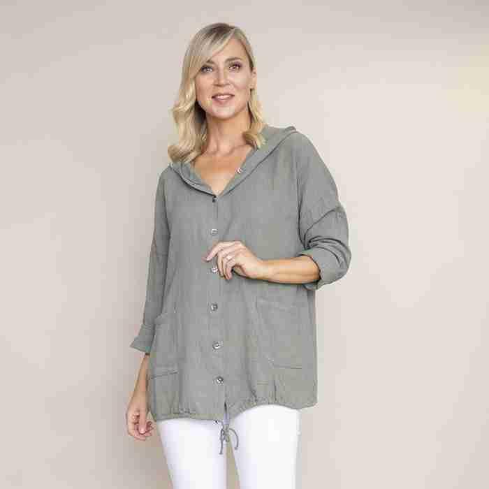 Crinkle Cotton Hoody Jacket (Khaki)