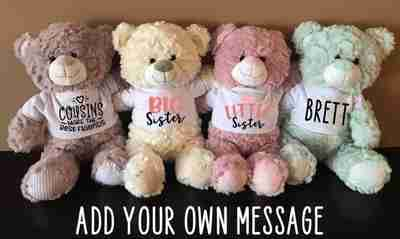 4 different colors bears with a customized shirt sitting together