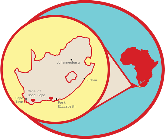 Rooibos Rocks map of South Africa
