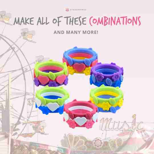 Some of the silicone ring bundle combinations you can make with the boardwalk bundle pack