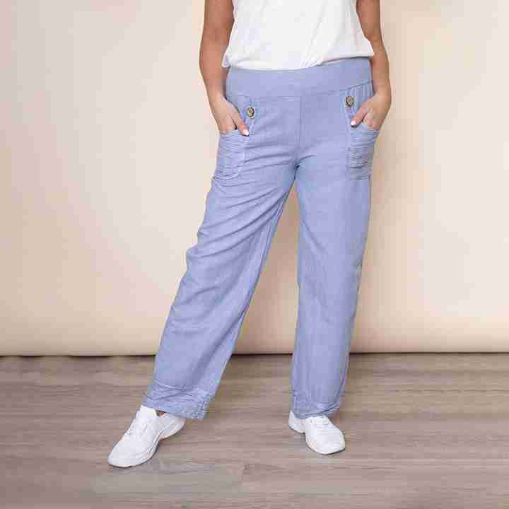 Stretch Waist Pocket Linen Trouser(Blue)