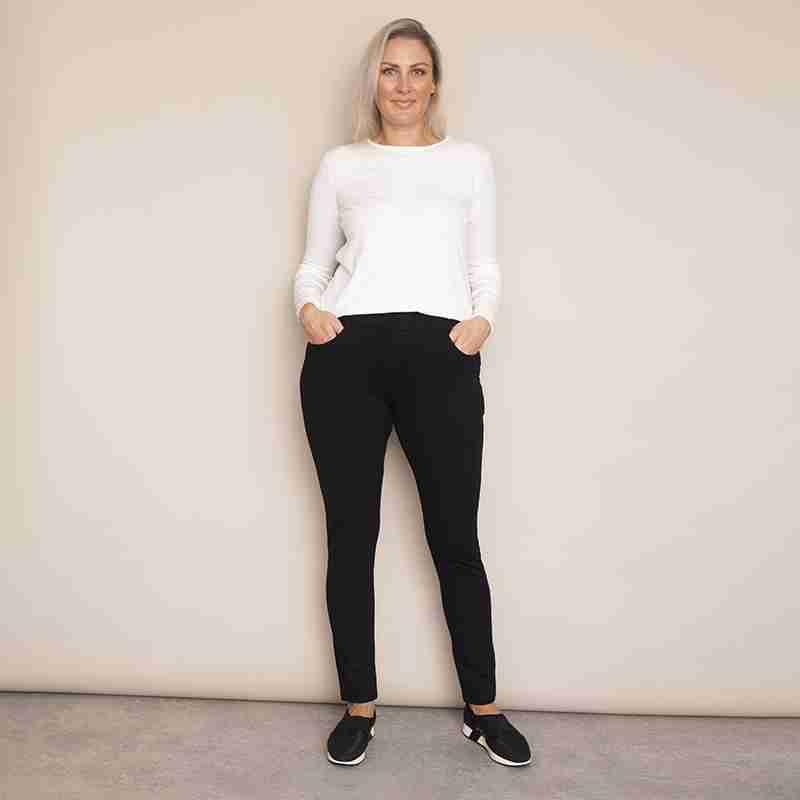 Stretch Waist Stud Pocket Trouser (Black)