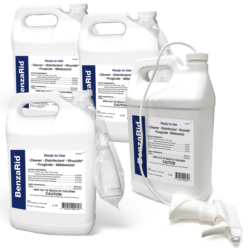BenzaRid Hospital Grade Cleaner - Disinfectant, Virucide, Fungicide - (4) 1 Gallon