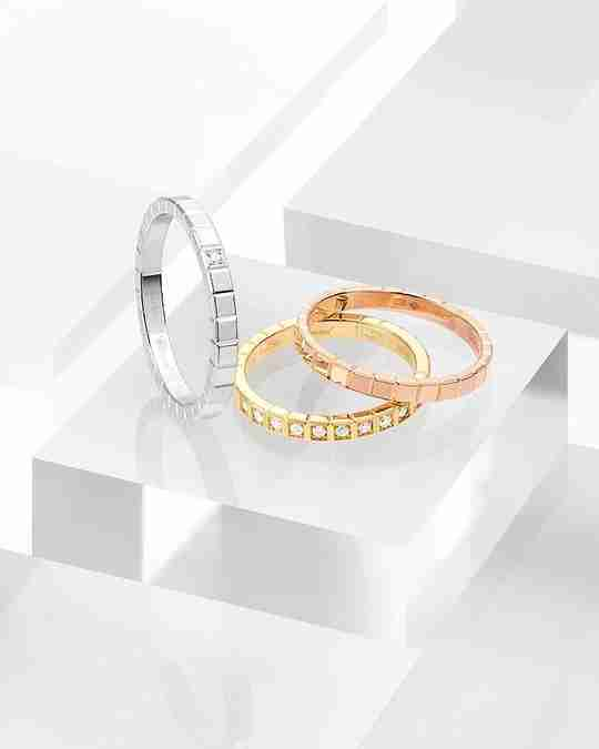 Three Ice Cube style rings by Chopard