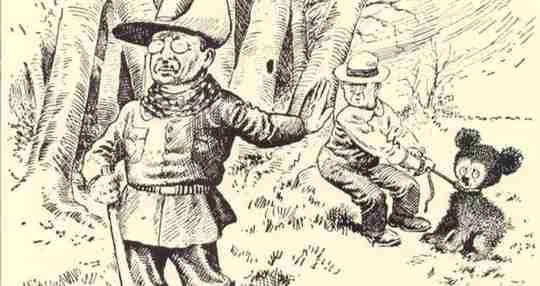Teddy Roosevelt's cartoon with a teddy bear.