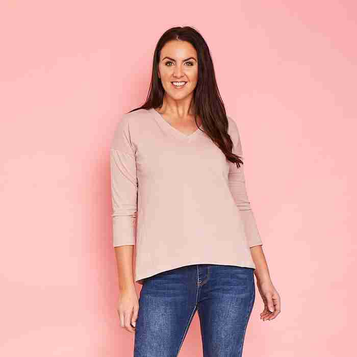 Riley V Neck Top (Rose)