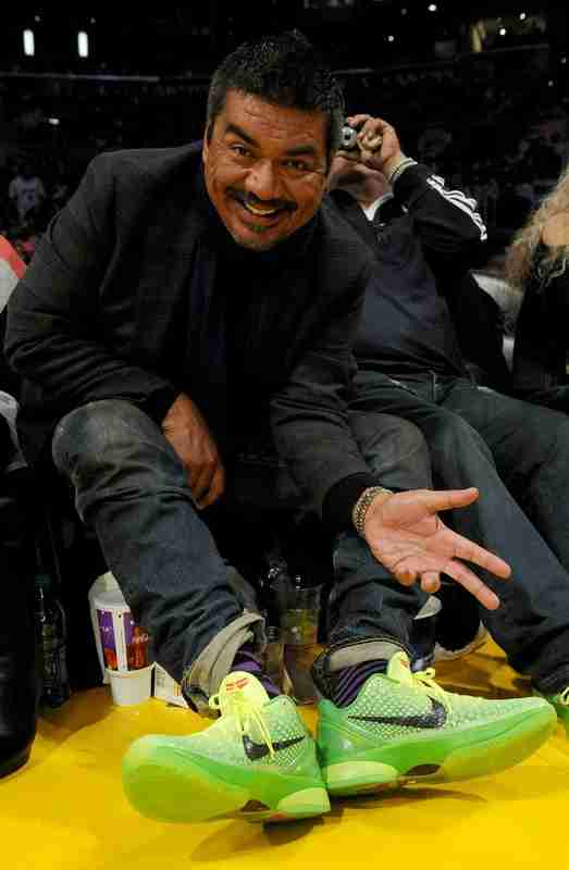 George Lopez wearing the original Nike Kobe 6 Grinch court side at the Staples Center in Los Angeles.