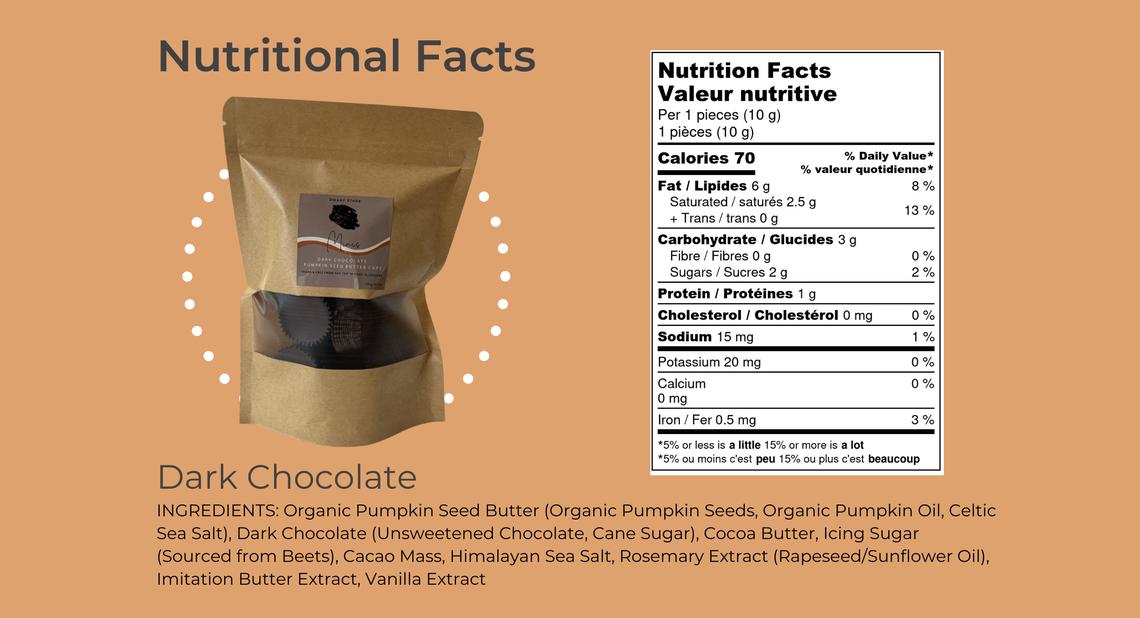 Vegan dark chocolate pumpkin seed butter cups