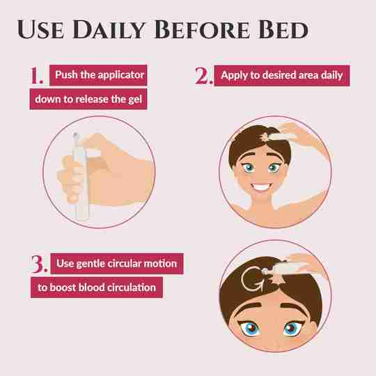 Use daily before bed. 1. Push the applicator down to release the gel. 2. Apply to the desired area daily. 3. Use gentle circular motion to boost blood circulation