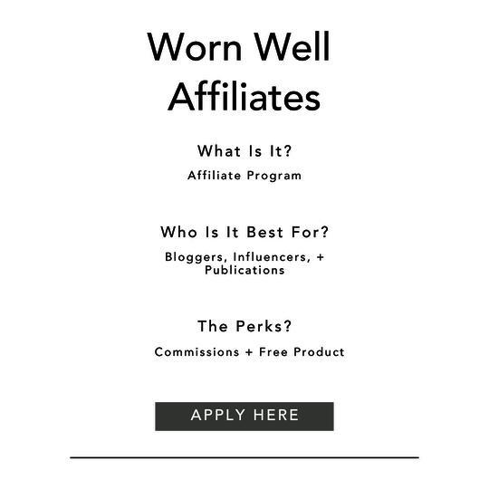 Worn Well Affiliate Information
