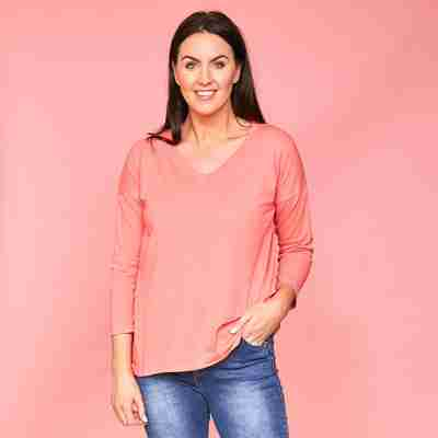 Riley V Neck Top (Coral)