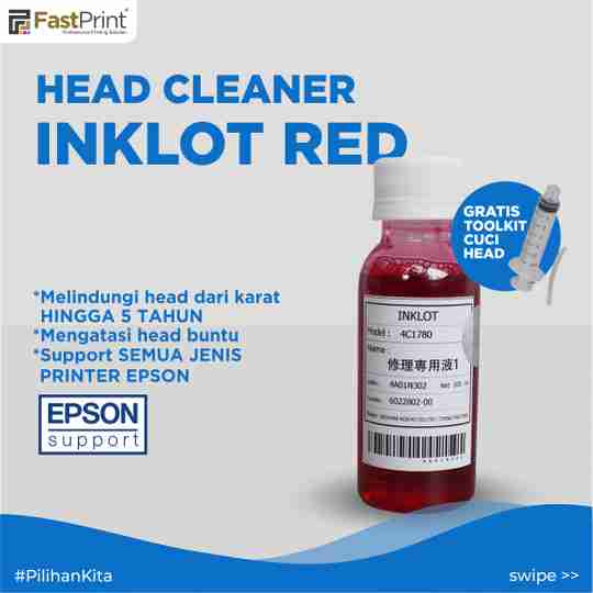 inklot red original epson, head cleaner epson, head printer buntu