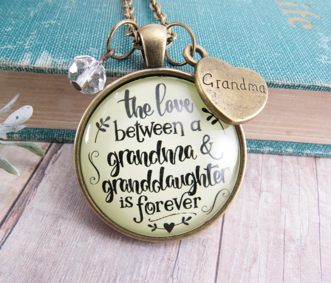 Gutsy Goodness To Grandmother Necklace Love Between A Grandma Is Forever Infinity Jewelry Gift