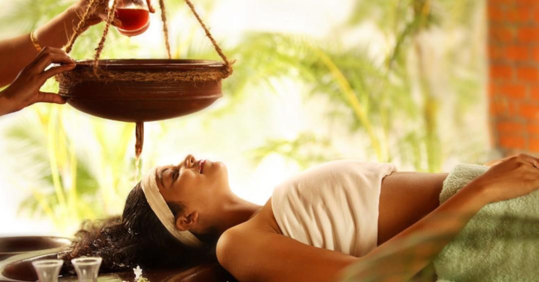 a modern woman undergoing Ayurveda's Head Massage ritual - Shiroabhyanga