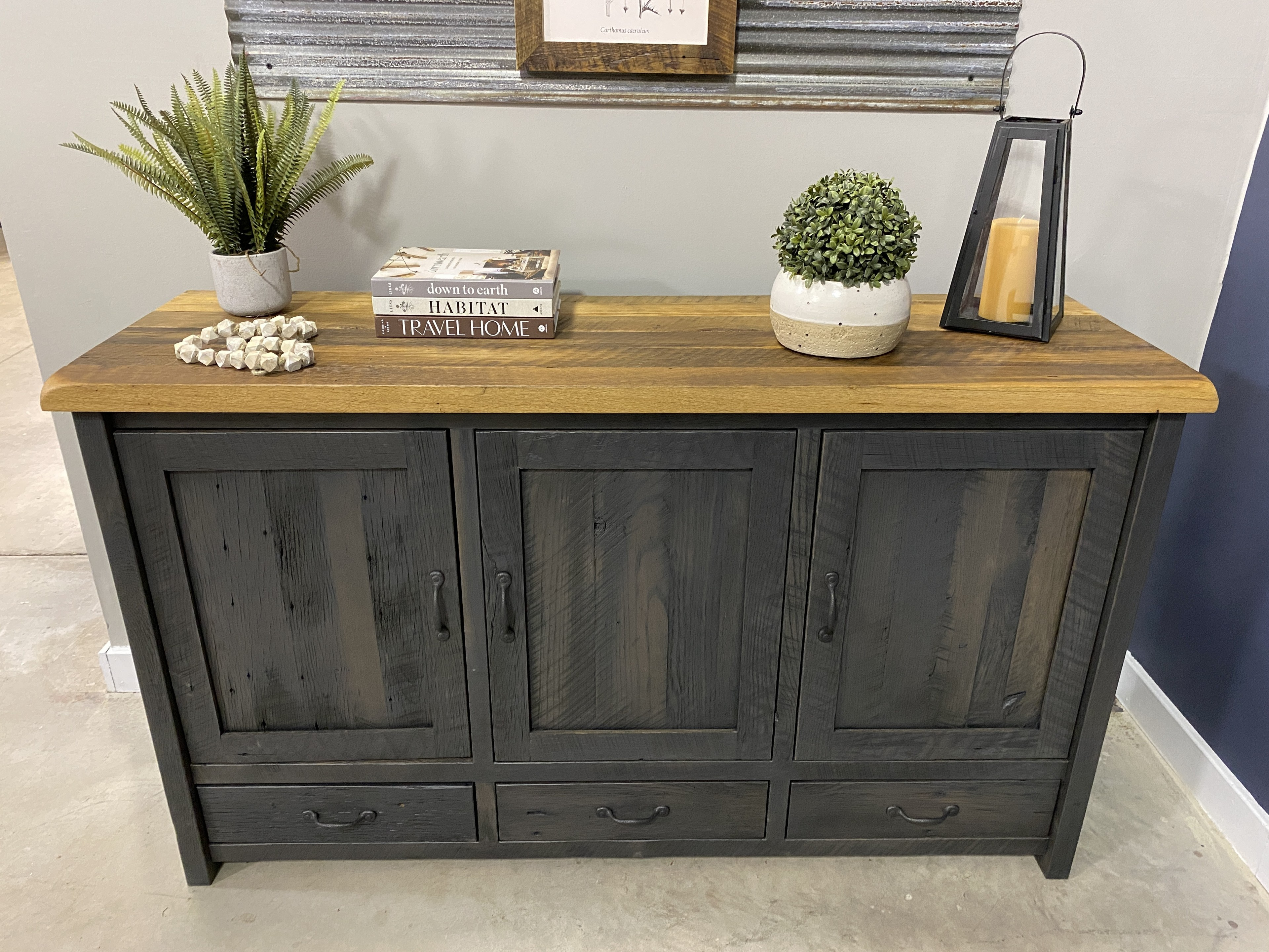 gray and wood buffet