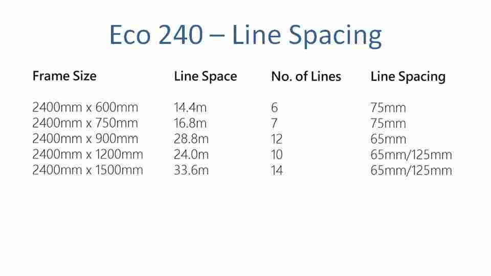 eco 240 2300mm wide clothesline line spacing options