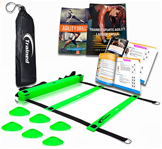Trained Agility Green Ladder Bundle 6 Sports Cones, 2 Agility Drills eBook and Carry Case