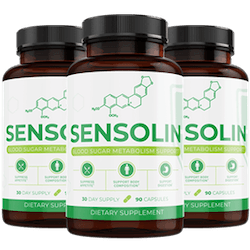 three bottles of the Sensolin supplement