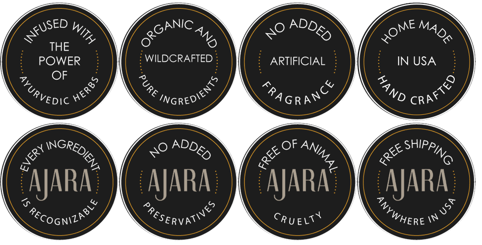 Ajara USP Badges : Ayurvedic Herbs, Organic, No added Fragrance, Hand Crafted, No added preservatives, FREE SHIPPING ANYWHERE